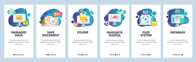Web site onboarding screens. Computer files and data system. Menu vector banner template for website and mobile app development. Modern design flat illustration.