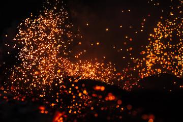Hot flame heat fire abstract black background. concept: burn, flame, heat, lighting ,blaze ,glow, flash