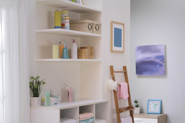 bottles on the shelf and on the sideboard