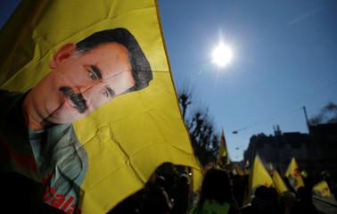 Pro-Kurd protesters take part in a demonstration in support of jailed PKK leader Ocalan in Strasbourg