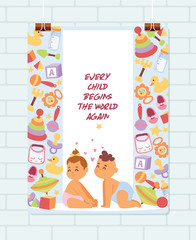 Baby shower vector cartoon kids newborn character boy girl playing with toys in playroom baby-shower banner backdrop children in love illustration on white background