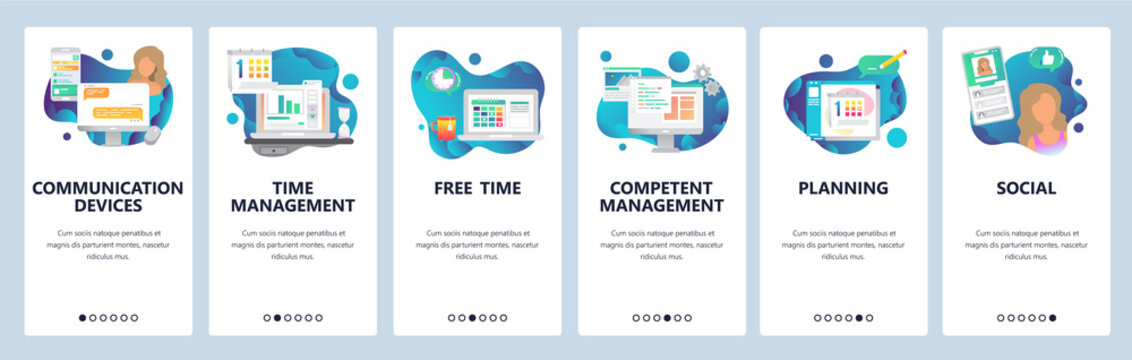 Web site onboarding screens. Online chat, dating, social media and time management. Menu vector banner template for website and mobile app development. Modern design flat illustration.