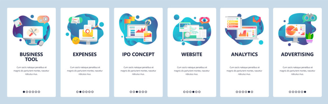 Web site onboarding screens. Financial report, business tools, analytics. Menu vector banner template for website and mobile app development. Modern design flat illustration.