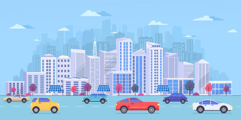 Cityscape with large modern buildings, city  transport, traffic on the street. Highway with cars on a blue background.