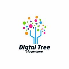 Digital Tree logo designs concept, Technology Tree logo template vector - Vector