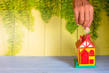 Small house and yellow green background