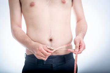 People, fat, measuring tape, comparison, white background