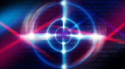 Neon target on a brick wall background with laser lights and rays of light, futuristic abstract background.