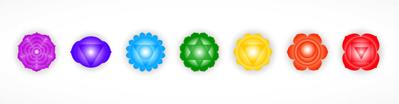 Set of seven colorful chakras symbols isolated on white background. Object for design