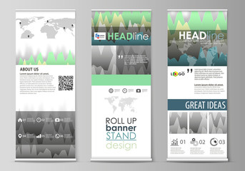 The minimalistic vector illustration of the editable layout of roll up banner stands, vertical flyers, flags design business templates. Rows of colored diagram with peaks of different height.