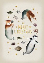 Christmas postcard with cats