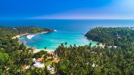 Aerial. Surf beach Hiriketiya, Dikwella, Sri Lanka.