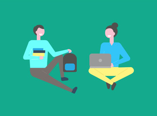 Male and female students sitting isolated on green background. Man teenager with pile of books, and girl working on laptop, vector cartoon people in flat style