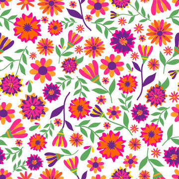 Dia de los muertos seamless vector pattern with marigold flowers. The main symbols of the holiday on the white background. Day of the dead.