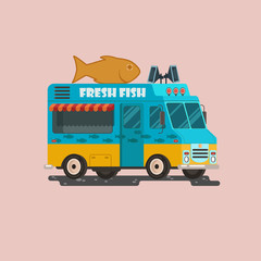 Vector truck illustration with big fish. Street food delivery. EPS 10