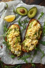 Vegetarian Avocado and scrambled egg sourdough toast.