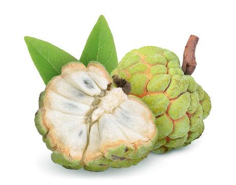 ripe custard apple fruit with leaf isolated on white background