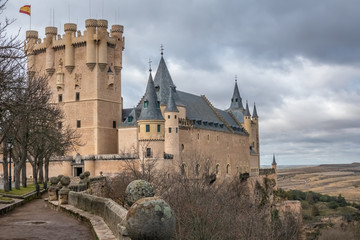 The majestic Alcazar of Segovia, Castile-Leon, Spain. Once a Roman and then Moorish fort. Rebuilt as a Christian castle. Until Philip II, one of the major palaces of the Kings of Spain.