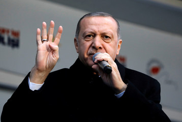 Turkish President Tayyip Erdogan addresses his supporters during a rally for the upcoming local elections in Istanbul