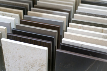 Close up of stone kitchen countertop samples