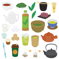 色々なお茶のイラスト