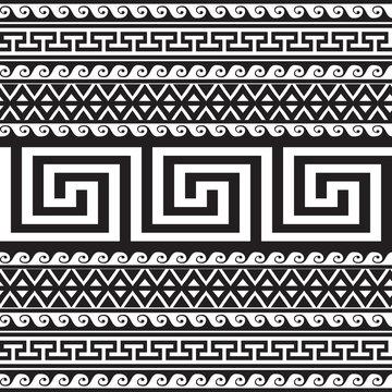 Ethnic style tribal greek borders seamless pattern. Black and white geometric striped background. greek key meanders ancient ornament. Geometrical ornamental shapes, zigzag, lines, waves, rhombus