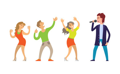 Musician giving performance for people dancing on music vector. Partying in club, clubbing male and females, couple and woman dancers relaxing together