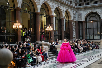 Models present creations during the Molly Goddard catwalk show during London Fashion Week Women's A/W19 in London