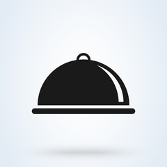 Covered with a tray of food icon. Vector illustration