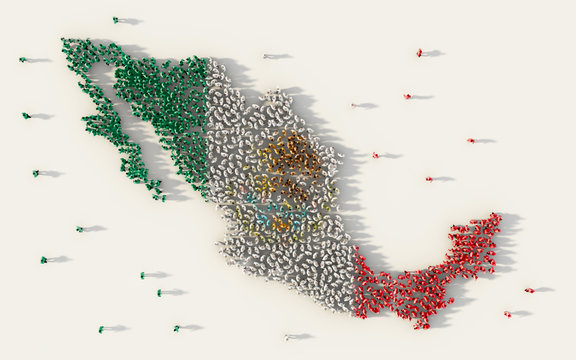 Large group of people forming Mexico map and national flag in social media and communication concept on white background. 3d sign symbol of crowd illustration from above gathered together