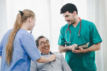 Doctor patient and nurse with tablet and stethoscope