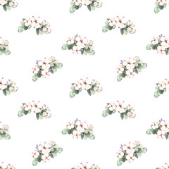 Watercolor hand-painted cute botany cotton flowers illustrations seamless pattern on white background