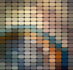 Mosaic pattern background. Bright colorful tiles with white gaps texture.