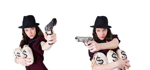 Woman gangster with handgun on white
