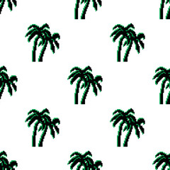 Pixel art of retro seamless pattern palms. Pixel palms. 8 bit