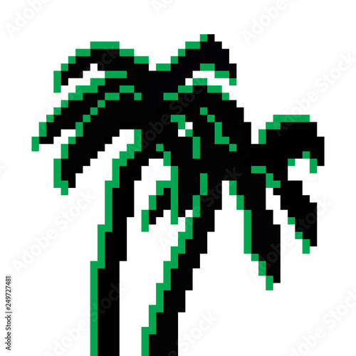 Pixel two palm trees  Detailed  Pixel art vector isolated  8
