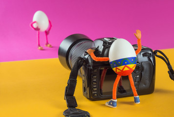 Egg photographer in professional studio