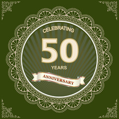 50th anniversary, birthday celebration, greeting card with an openwork ring, pattern, decorative ribbon