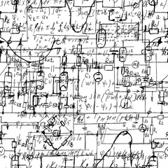Obraz Scientific seamless texture with handwritten formulas and electronic components. Drawing of various graph solutions on white. Physics and schematic diagram and circuit of  the devices. Vector. - fototapety do salonu