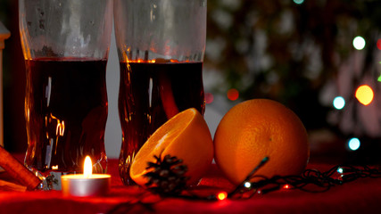 Hot mulled wine is on the New Year's table. Celebration of Christmas and New Year