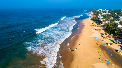 Aerial. Hikkaduwa beach. Sri Lanka.