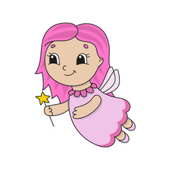 Cute fairy in a pink dress. Cute flat vector illustration in childish cartoon style. Funny character. Isolated on white background.