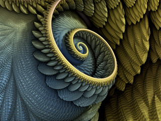 Papiers peints Spirale 3D Illustration - Spiral shape in yellow and blue colors, recursive fractal/fantasy computer generated artwork. Fantasy world, infinite vortex repeating geometric spiral pattern, vortex, super spiral.