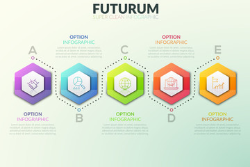 Six separate hexagonal elements placed in horizontal row and text boxes near them. Successive steps of project development concept. Futuristic infographic design template. Vector illustration.