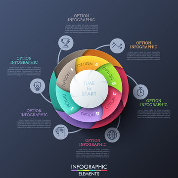 Circular diagram divided into 6 multicolored spiral sectors connected with thin line icons and text boxes. Six features of business development process. Infographic design layout. Vector illustration.