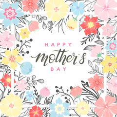 Happy Mothers Day typography.Happy Mothers Day - hand drawn lettering with floral elements,leaves and flowers.Seasons greetings card perfect for prints,banners,invitations,special offer and more.