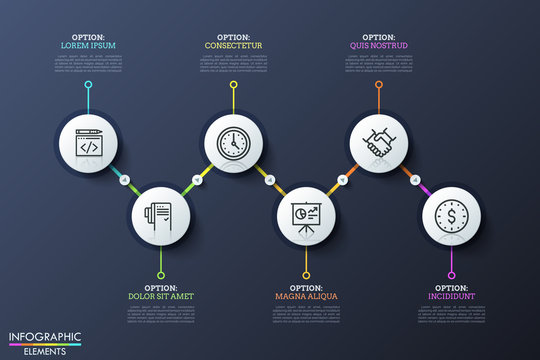 Six round elements with icons inside placed in zigzag course and connected by lines and play buttons. Business development steps. Modern infographic design template. Vector illustration for report.