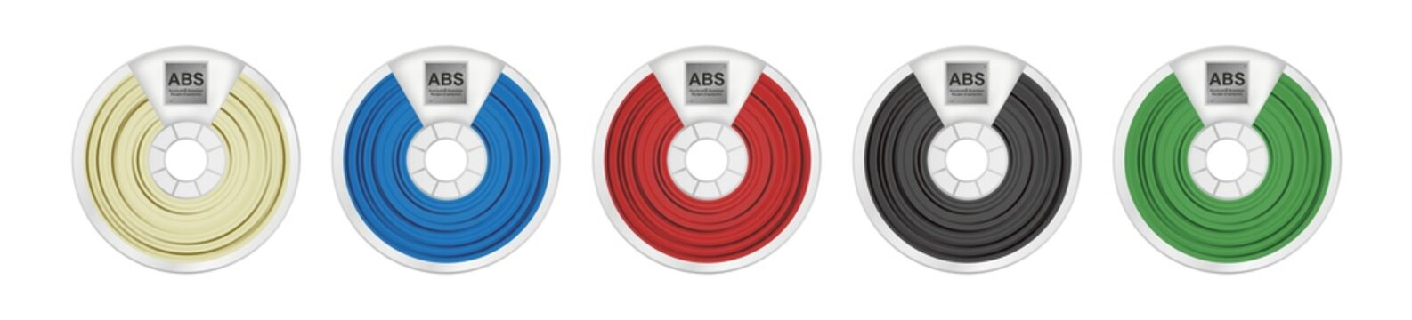 Vector set of five abs filaments for 3D printing wounded on the spool. Plastic material acrylonitrile butadiene styrene in several color variants – natural white, blue, red, black and green isolated.