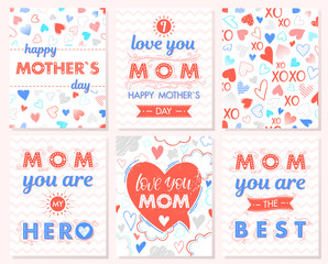 Set of creative Mothers Day cards.Hand drawn lettering with hearts,clouds,zig zag background,hugs and kisses,ribbons.Seasons greetings cards perfect for prints, flyers,banners,invitations.