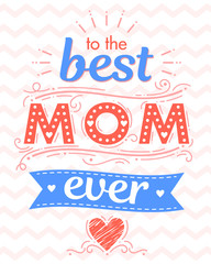 Happy Mothers Day typography with zig zag background,ribbon and hearts.Seasons greetings card perfect for prints,banners,invitations,special offer and more.Vector Mothers Day card.
